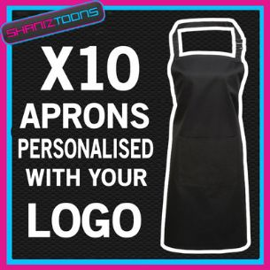 PERSONALISED EMBROIDERED LOGO APRON KITCHEN STAFF COFFEE SHOP CAFE  X10